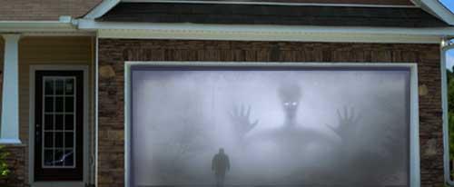 Halloween Alien Projection on Garage Doorway Projection Screen