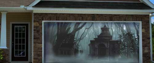 Halloween Graveyard Projection Garage Doorway Projection Screen