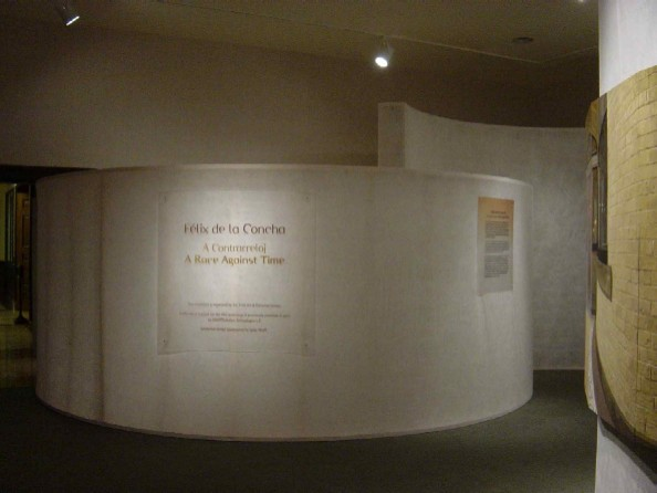 The fabric was stretched over 2x4 stud frames to make curved walls which directed museum traffic into the exhibit.  The walls are translucent--allowing light & sound transmission, and allowing patrons to see movement, and hear sounds while creating a private exhibit space.