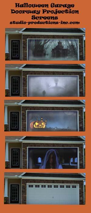 Halloween Garage Doorway Projection Screen