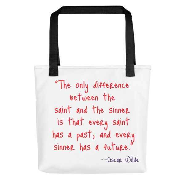 Quote Sinner & Saint Tote Bag